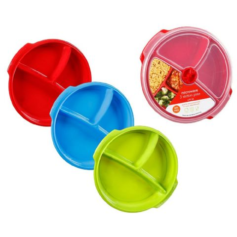 Microwave Lunch or Salad Meal Plate Box with Compartments